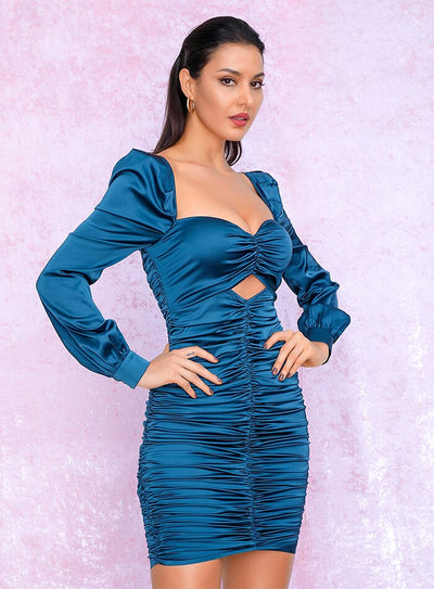 Robe Cocktail Bleu Azur