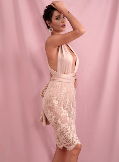 Robe Cocktail Mi Longue Rose