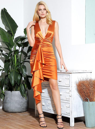 Robe De Soirée Courte Orange | Ma Robe Cocktail