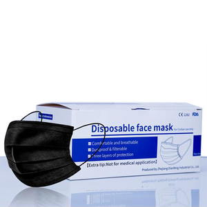 Black 3-Ply Protective Face Mask - 50pk, No Donation