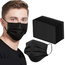 Load image into Gallery viewer, Black 3-Ply Protective Face Mask - 50pk, No Donation