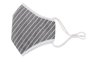 Washable Protective Mask with Antimicrobial Bamboo Inner Layer - Grey Striped
