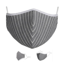 Load image into Gallery viewer, Washable Protective Mask with Antimicrobial Bamboo Inner Layer - Grey Striped
