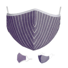 Load image into Gallery viewer, Washable Protective Mask with Antimicrobial Bamboo Inner Layer - Purple Striped