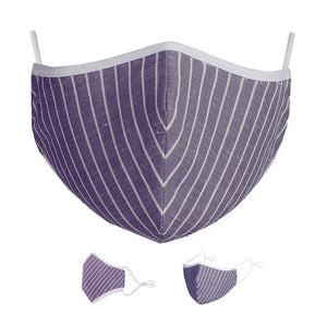 Washable Protective Mask with Antimicrobial Bamboo Inner Layer - Purple Striped