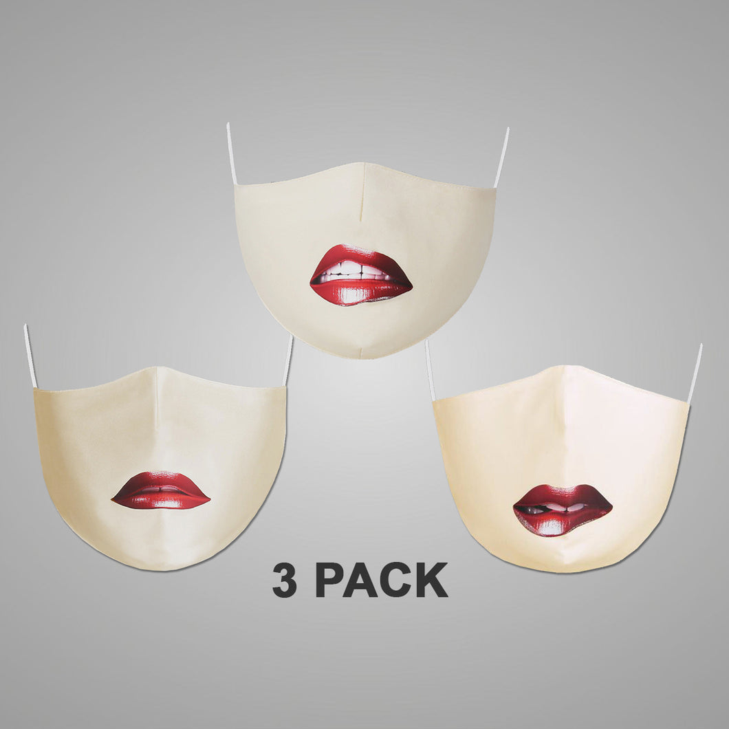 3-pack Washable Protective Mask with Antimicrobial Bamboo Inner Layer - Lips