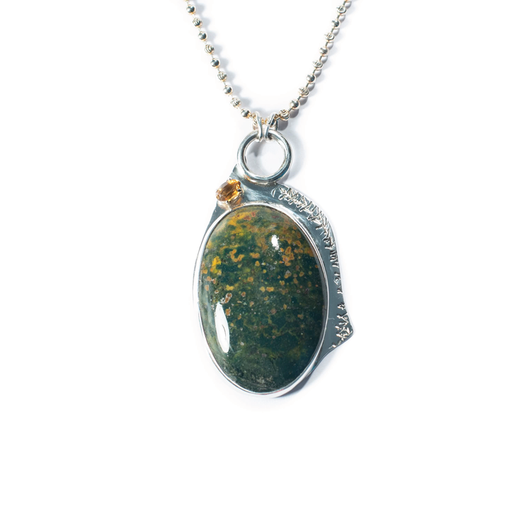 Agatized Jasper Bloodstone, Citrine, Sterling Silver Etched Necklace