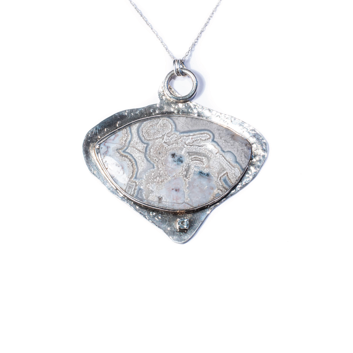 Blue Lace Agate, Aquamarine, Sterling Silver Etched Necklace