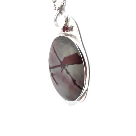 Mookite, Garnet, Sterling Silver Etched Necklace