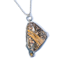 Ocean Jasper, Citrine, Sterling Silver Etched Gryphon Necklace