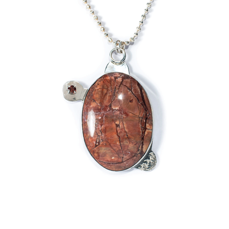Red Jasper, Garnet, Sterling Silver Etched Necklace