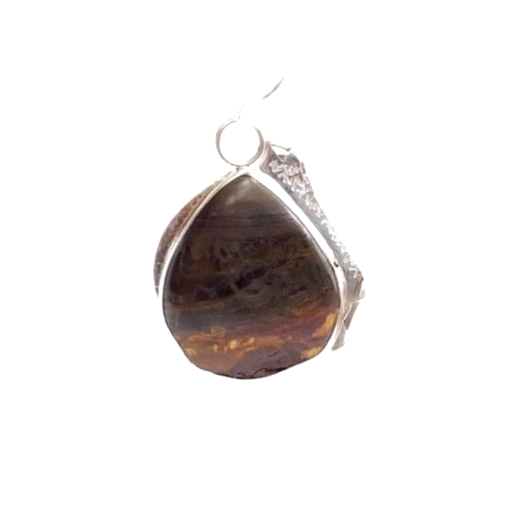 Tiger Eye Iron, Sterling Silver Etched Necklace