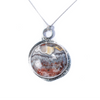 Crazy Lace Agate, Sterling Silver Etched Necklace