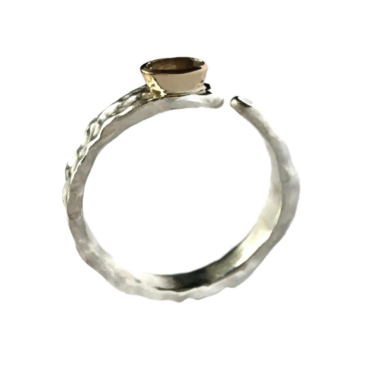 Silver Ring with Gold & Light Topaz