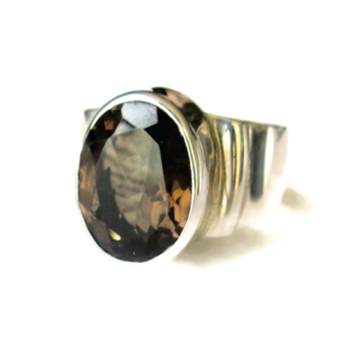 Silver & Smokey Topaz Ring