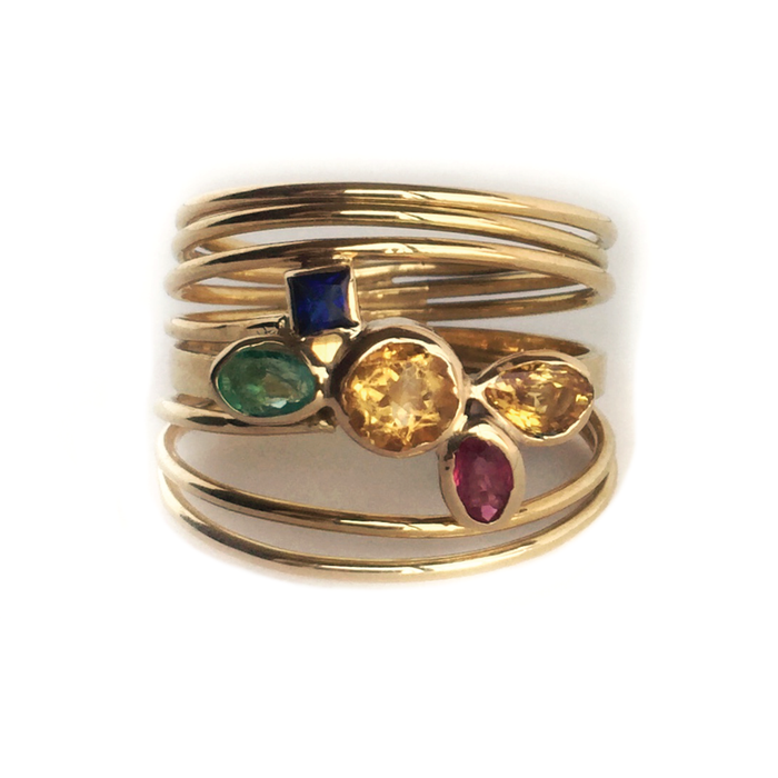 Gold 18 Kt Emerald, Ruby, Saphhire, Citrine, Topaz Ring
