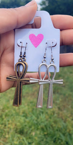 Ankh Earrings- metal and resin