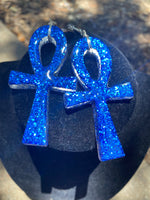 Load image into Gallery viewer, Ankh Earrings- metal and resin