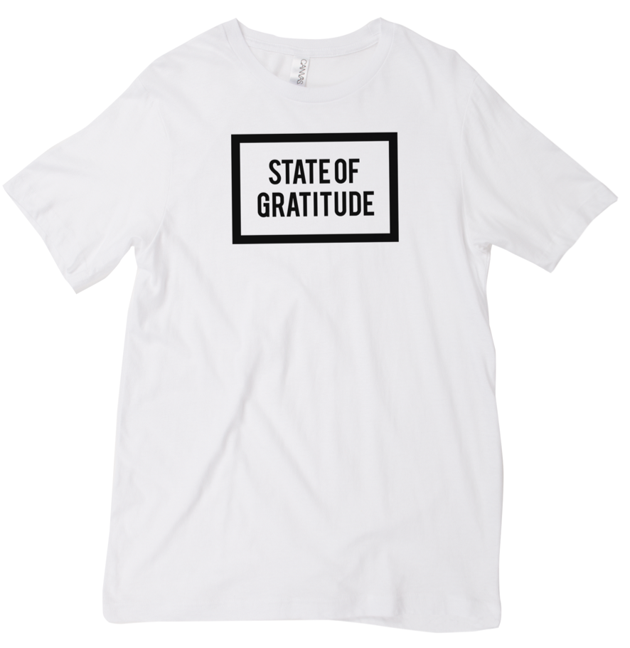 State of Gratitude White Tee Shirt Top. Gratitude Apparel. Recovery apparel. Yoga, Wellness, Athletic, Mindfulness wear. Unisex, Men's, and Women's Clothing