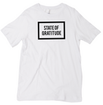 Load image into Gallery viewer, State of Gratitude White Tee Shirt Top. Gratitude Apparel. Recovery apparel. Yoga, Wellness, Athletic, Mindfulness wear. Unisex, Men's, and Women's Clothing