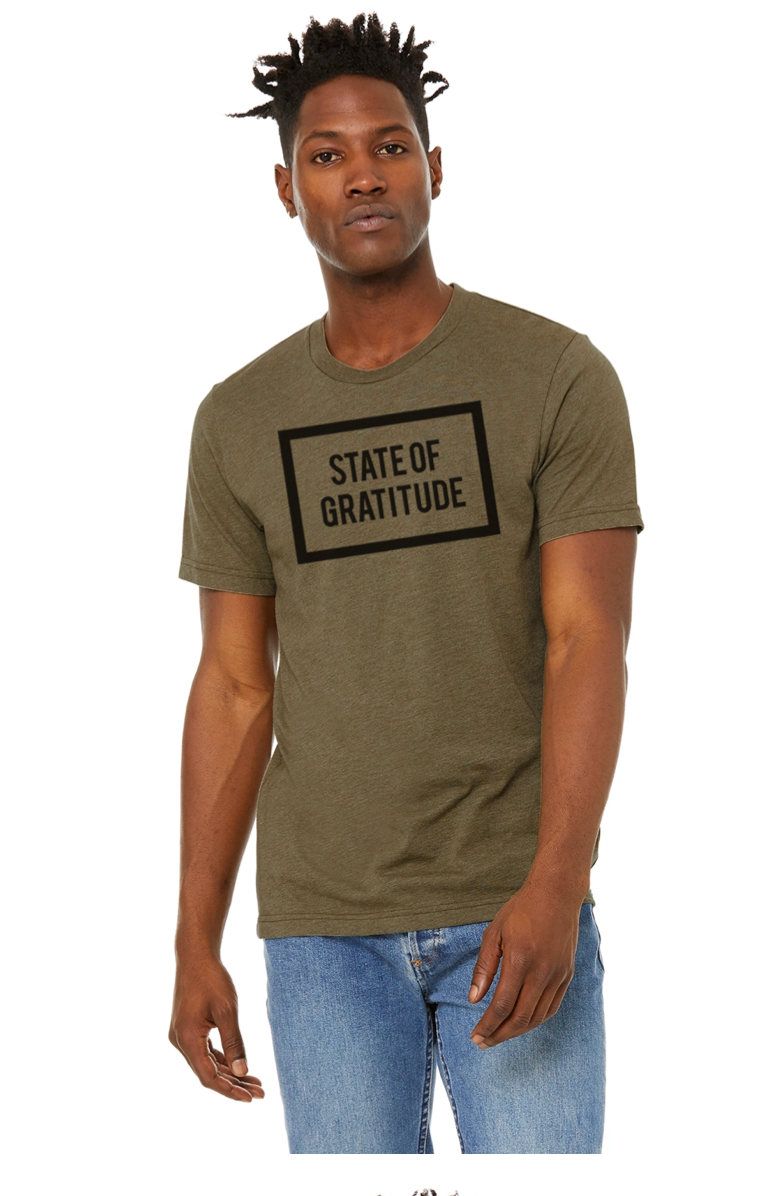 STATE OF GRATITUDE SUEDED OLIVE HEATHER TEE WITH BLACK PRINTED LOGOS ON FRONT AND BACK, WELLNESS APPAREL, POC MODELS, GRATITUDE CLOTHING, YOGA GEAR, MEDITATION CLOTHES, WELLNESS, MINDFULNESS