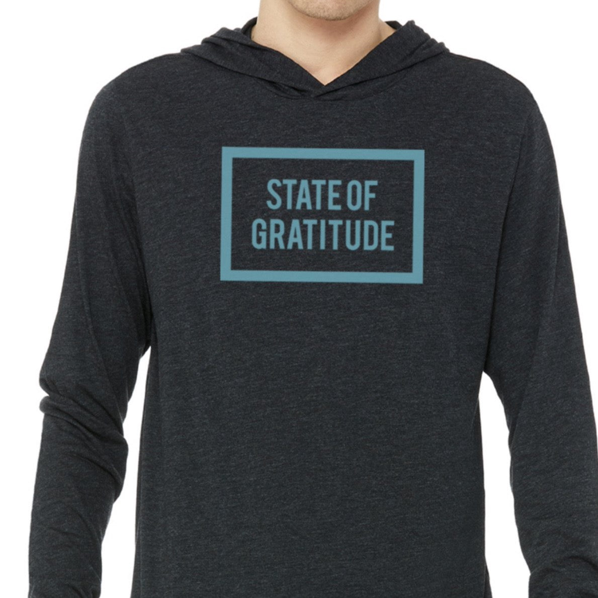 STATE OF GRATITUDE™ UNISEX HEATHER BLACK LONG SLEEVE WITH HOODIE