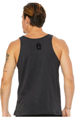 Load image into Gallery viewer, State of Gratitude Heather Black Sleeveless Tank Mens Womens Shirt Top