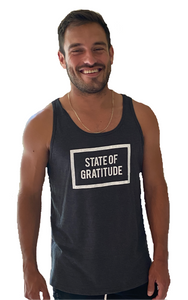 State of Gratitude Unisex, Men's, Women's Tank Top. Athletic Fit. Sleeveless. Jersey Cotton. Heather Grey.