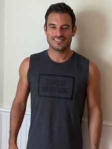 State of Gratitude Men's Muscle Tank Black Print Logo Heart Chakra on back