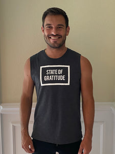 STATE OF GRATITUDE™ Men's WHITE PRINT Muscle Tank
