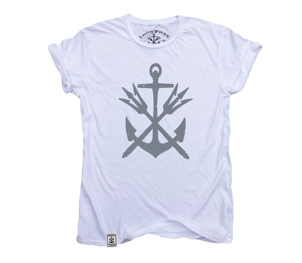 Anchor & Tridents: Organic Fine Jersey Short Sleeve T-Shirt in White