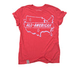 All American: Tri-Blend Short Sleeve T-Shirt in Tri Red