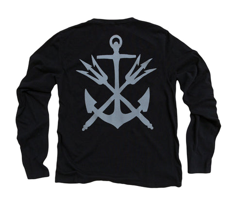 Anchor & Tridents ll: Organic Fine Jersey Long Sleeve T-Shirt in Black