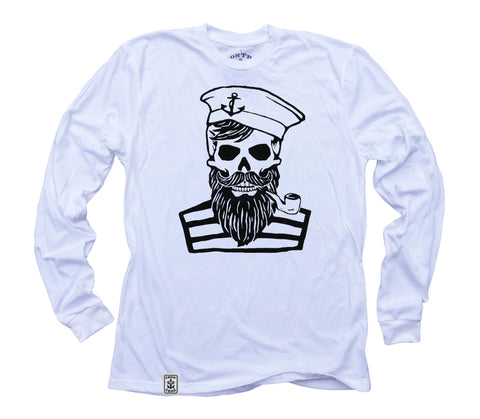 Blackbeard's Ghost: Organic Fine Jersey Long Sleeve T-Shirt in White