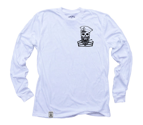 Blackbeard's Ghost ll: Organic Fine Jersey Long Sleeve T-Shirt in White