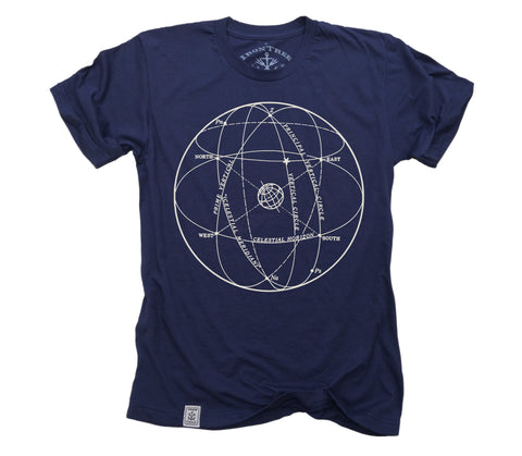 Elements of the Celestial Sphere: Fine Jersey Short Sleeve T-Shirt in Navy
