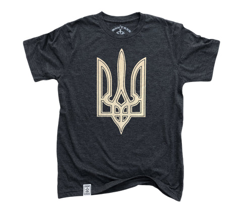 Trident: Tri-Blend Short Sleeve T-Shirt in Charcoal-Black