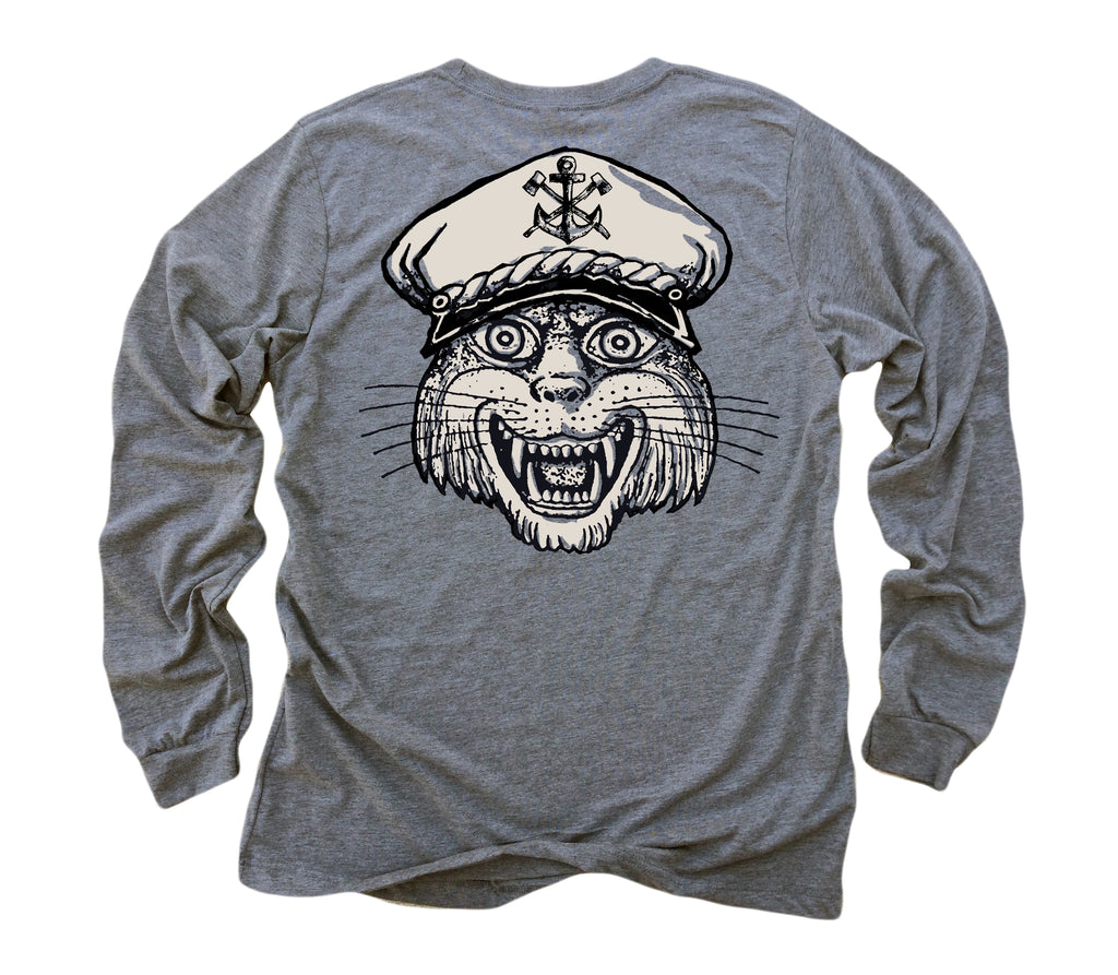d7c4270e8b21 Captain Cat: Tri-Blend Long Sleeve T-Shirt in Heather Grey – IronTree  Clothing