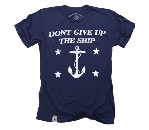 Dont Give Up The Ship: Fine Jersey Short Sleeve T-Shirt in Navy