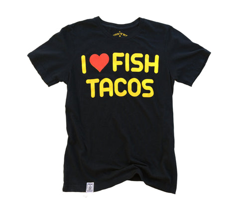 Fish Tacos: Organic Fine Jersey Short Sleeve T-Shirt in Black