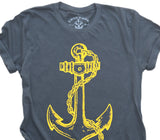 Fouled Anchor: Organic Fine Jersey Short Sleeve T-Shirt in Slate