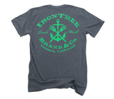 IronTree Stamp: Organic Fine Jersey Short Sleeve T-Shirt in Slate