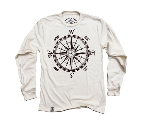Mariner's Compass: Organic Long Sleeve T-Shirt in Unbleached Natural