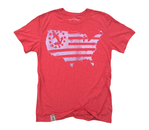 US Map Yacht Ensign: Tri-Blend Short Sleeve T-Shirt in Tri Red