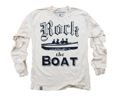 Rock the Boat: Organic Fine Jersey Long Sleeve T-Shirt in Unbleached Natural