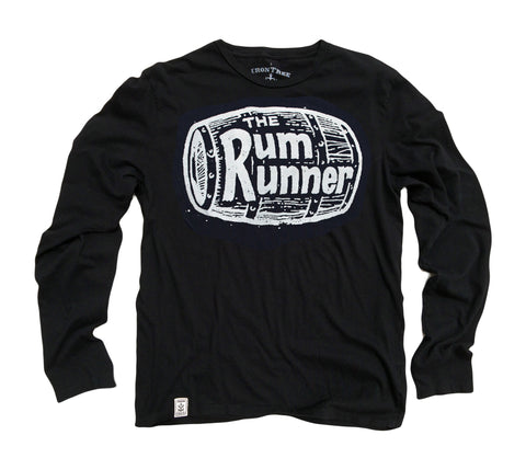 Rum Runner: Organic Fine Jersey Long Sleeve T-Shirt in Black