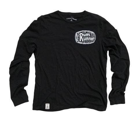 Rum Runner ll: Organic Fine Jersey Long Sleeve T-Shirt in Black