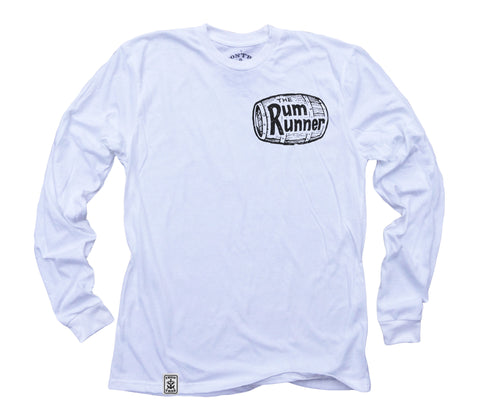 Rum Runner ll: Organic Fine Jersey Long Sleeve T-Shirt in White