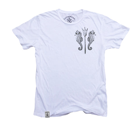 Seahorses & Trident ll: Organic Fine Jersey Short Sleeve T-Shirt in White