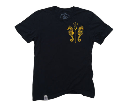 Seahorses & Trident ll: Organic Fine Jersey Short Sleeve T-Shirt in Black w/ yellow